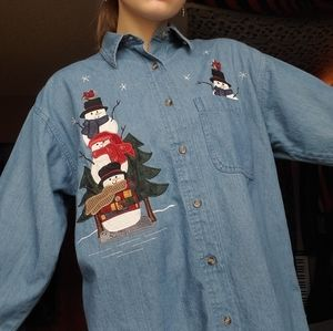 80s 90s vintage Christmas granny buttondown shirt